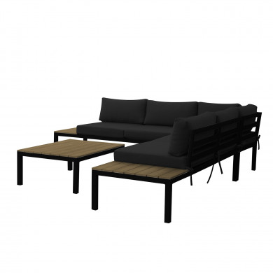 Ensemble salon de jardin design aluminium - Gris Noir- MILANO