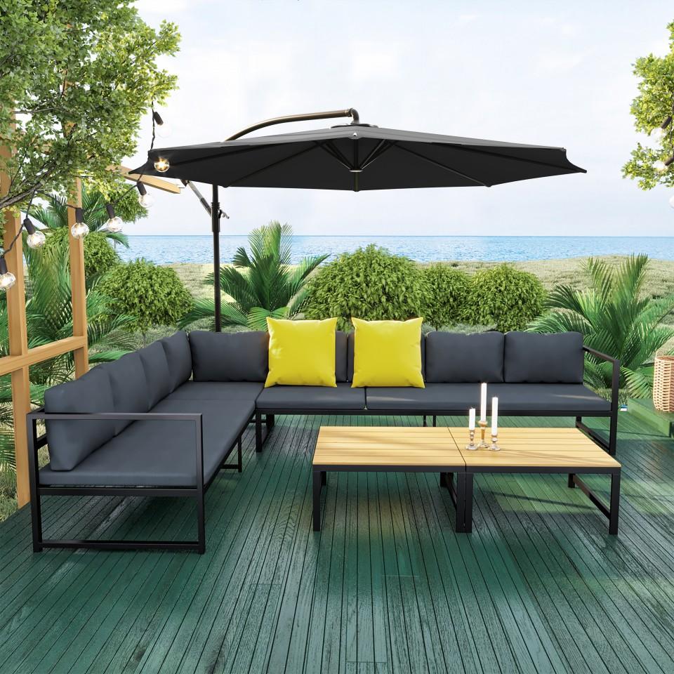Ensemble salon de jardin en aluminium design fonctionnel- Gris Noir- TORINO