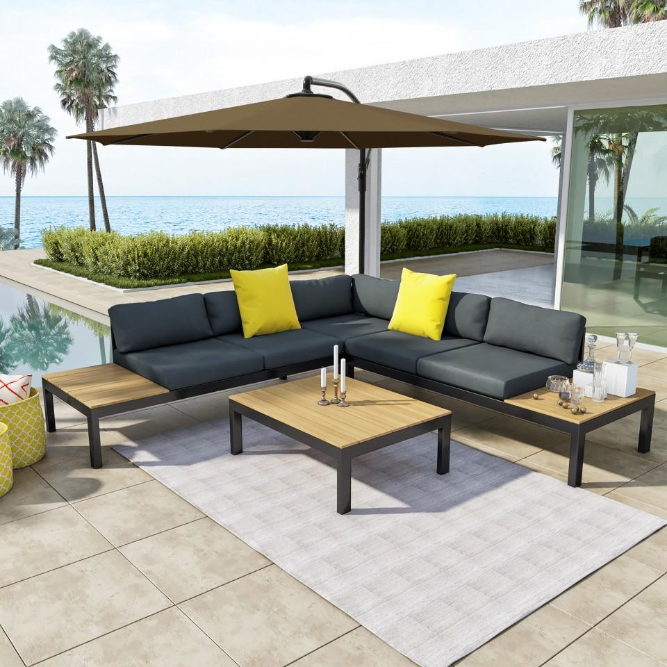 Salon d'angle de jardin design aluminium avec parasol couleur Gris Noir - MILANO + PAROS