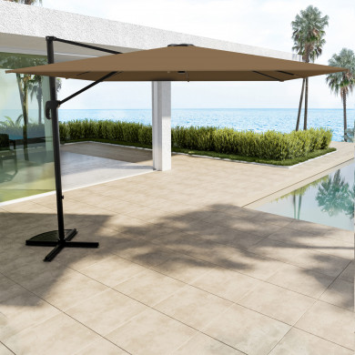 Parasol déporté carré 3x3m aluminium - rotatif à 360° - Kaki - RHODES