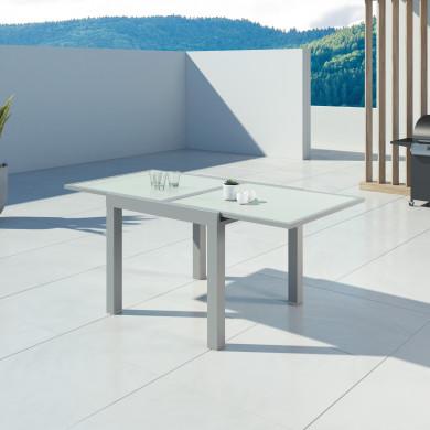 HARA - Table de jardin extensible aluminium - 90/180cm - 6 places - Argentée