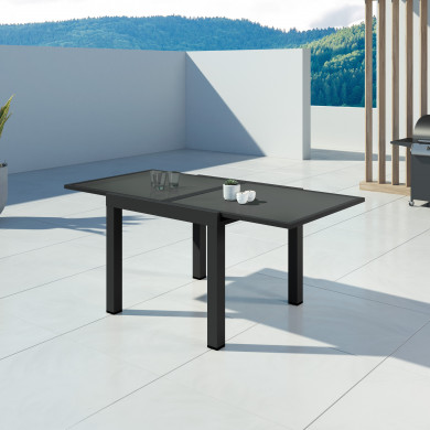 HARA - Table de jardin extensible aluminium - 90/180cm - 6 places - Noir