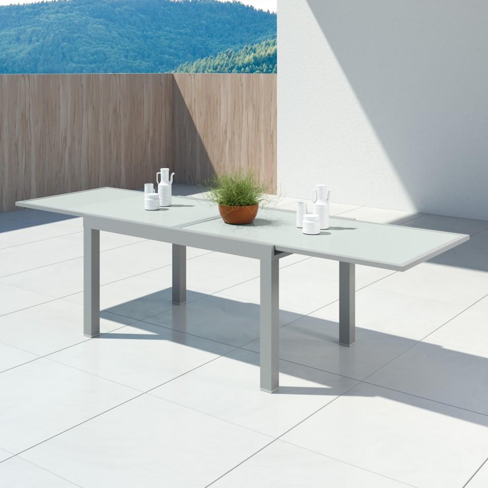 HARA XL - Table de jardin extensible aluminium - 140/280cm - 10 places - Argentée