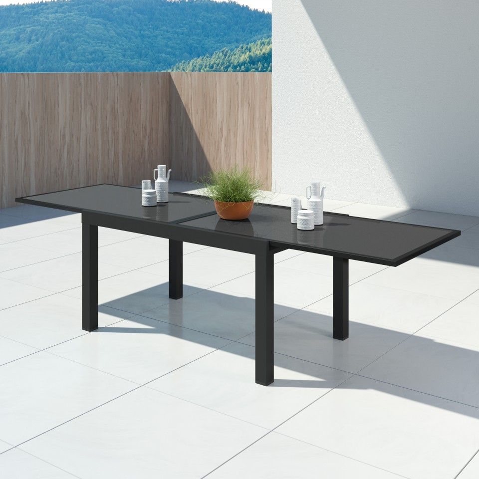 HARA XL - Table de jardin extensible aluminium - 140/280cm - 10 places - Noir