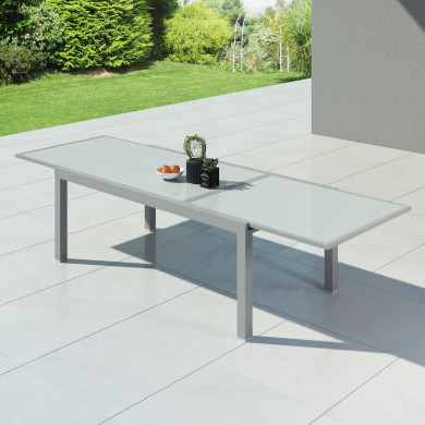HARA XXL - Table de jardin extensible aluminium - 200/320cm - 12 places - Argentée