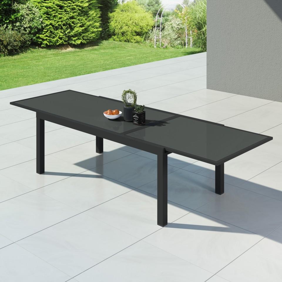 HARA XXL - Table de jardin extensible aluminium - 200/320cm - 12 places - Anthracite