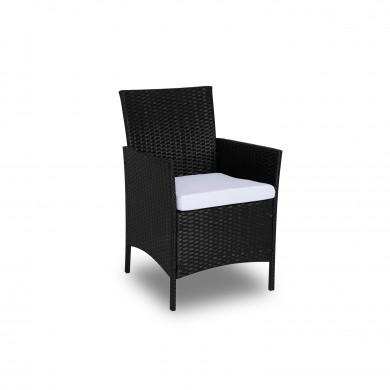IMORA - Salon de jardin résine tressée Noir/Ecru - ensemble 4 places - Canapé + Fauteuil + Table