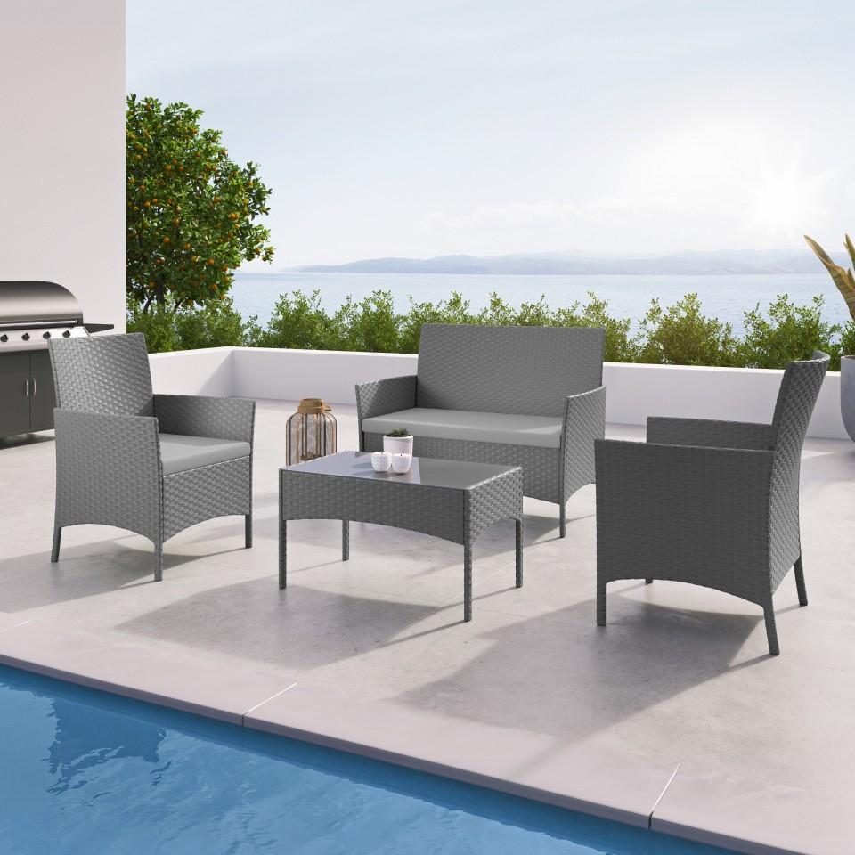 IMORA - Salon de jardin résine tressée Gris - ensemble 4 places - Canapé + Fauteuil + Table
