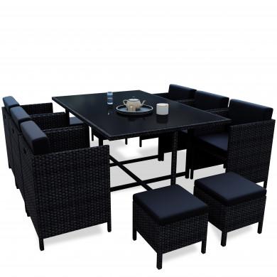 MUNGA 10 Places - Ensemble encastrable salon / table de jardin résine tressée - Noir/Noir