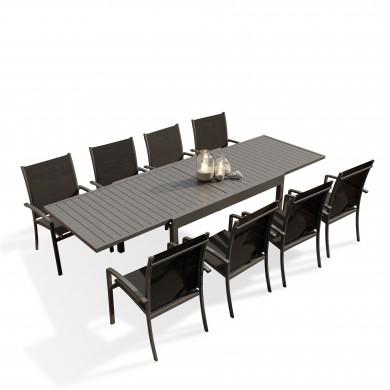 Table de jardin extensible aluminium 135/270cm  + 8 fauteuils empilables textilène Gris Anthracite - ANDRA