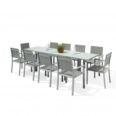 HARA XL - Table de jardin extensible aluminium 140/280cm  + 10 fauteuils textilène Argentée
