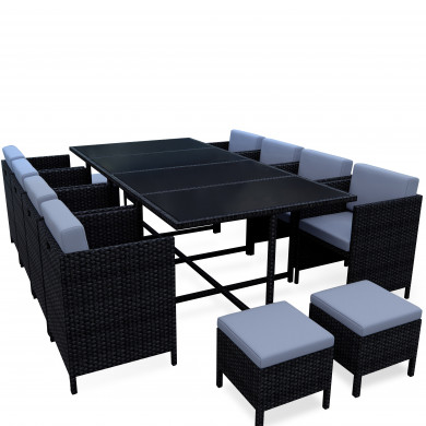 MUNGA 12 Places - Ensemble encastrable salon / table de jardin résine tressée-Noir/Gris