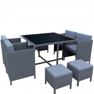 MUNGA 8 Places - Ensemble encastrable salon / table de jardin résine tressée-Gris