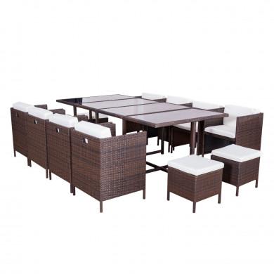MUNGA 10 Places - Ensemble encastrable salon / table de jardin résine tressée-Marron