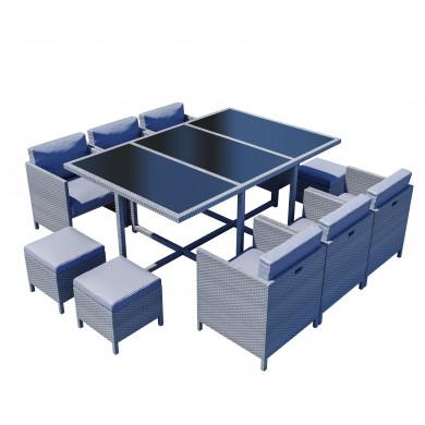 MUNGA 10 Places - Ensemble encastrable salon / table de jardin résine tressée-Gris