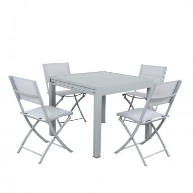 Table de jardin extensible aluminium 90/180cm  + 8 Chaises pliables textilène gris - BORA