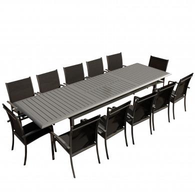 Table de jardin extensible aluminium 220/320cm  + 12 fauteuils empilables textilène Gris Anthracite - ANDRA XL