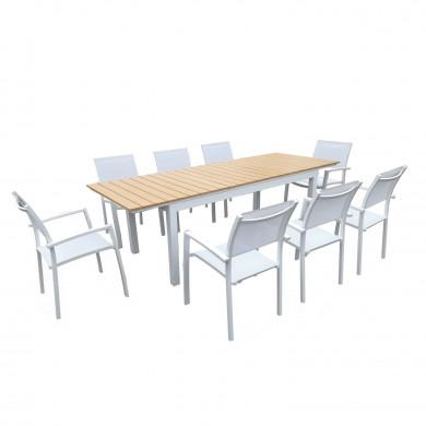 Table de jardin extensible aluminium blanc 180/240cm + 8 fauteuils empilables textilène - PALMA 8