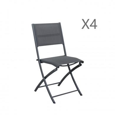 4 chaises pliables aluminium textilène - gris anthracite - BORA