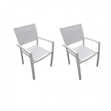 Lot de 2 Fauteuils empilables aluminium en textilène- blanc-PALMA