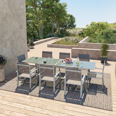 HARA XL - Table de jardin extensible aluminium 140/280cm  + 8 fauteuils textilène Argentée
