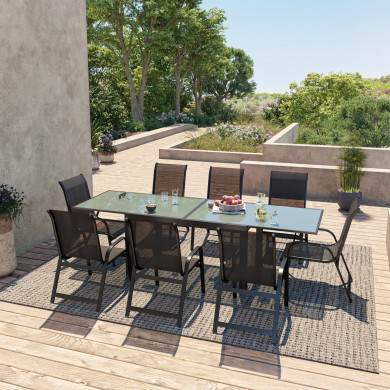 Table de jardin extensible aluminium 140/280cm  + 8 fauteuils  empilables textilène Noir - FARO