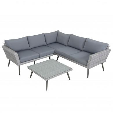 INA scandinave - Ensemble salon de jardin rafiné en aluminium et résine tressée  - gris-intérieur/extérieur