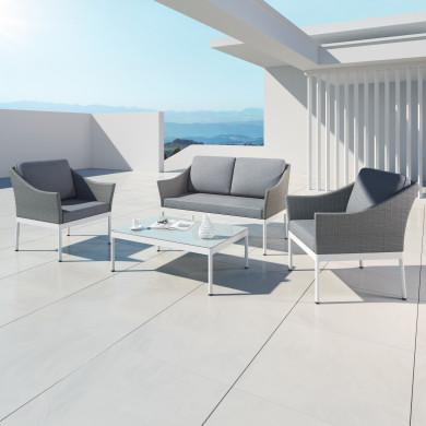 HELGA - Ensemble salon de jardin chic en aluminium et résine tressée - intérieur/extérieur