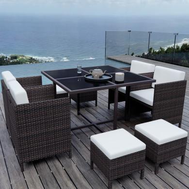 MUNGA 8 Places - Ensemble encastrable salon / table de jardin résine tressée-Marron/Ecru