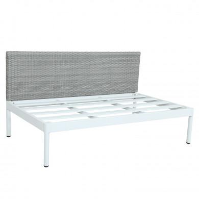 JUN - Ensemble salon de jardin rafiné en aluminium et résine tressée  - gris/blanc-intérieur/extérieur