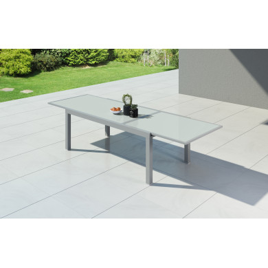 HARA XXL - Table de jardin extensible aluminium - 200/320cm - 12 places - Argentée