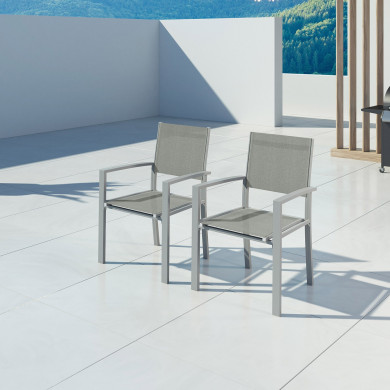 HARA- 2 Fauteuils empilables aluminium argenté textilène gris clair