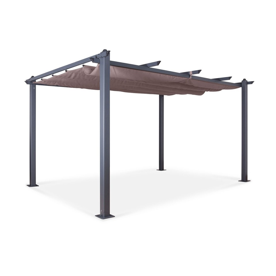 Tonnelle/Pergola aluminium 3x4m toile coulissante rétractable - Gris Taupe - model Hero XL
