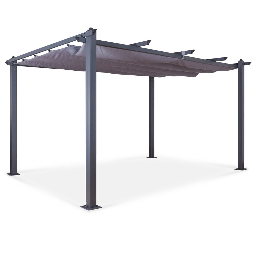 Tonnelle/Pergola aluminium 3x4m toile coulissante rétractable - Gris - model Hero XL