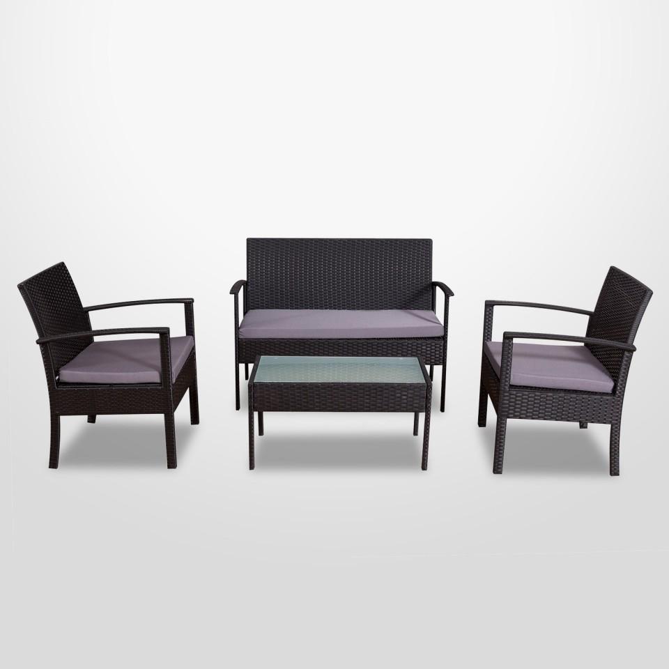 ALBA - Salon de jardin résine tressée Noir/Gris - ensemble 4 places - Canapé + Fauteuil + Table