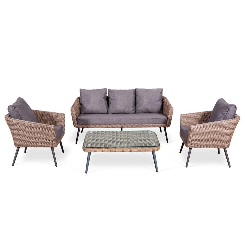 Ensemble salon de jardin scandinave en Aluminium 5 places résine tressée demie ronde -marron / gris - NILS 5