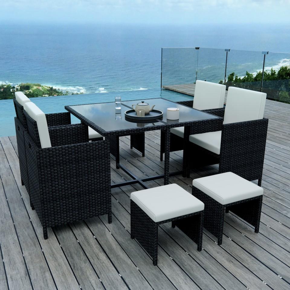 8 Places - Ensemble encastrable salon / table de jardin résine tressée - Noir / Ecru - Model TUNGA 8