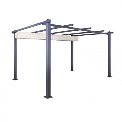 Tonnelle/Pergola aluminium 3x4m toile coulissante rétractable - Gris Taupe - model Hero XL