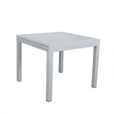 Table de jardin extensible aluminium/verre - 90/180cm - 8 places - Gris Argenté - BORA