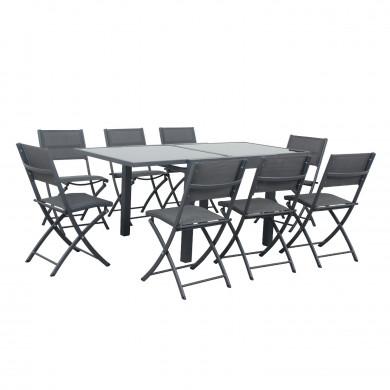 Table de jardin extensible aluminium/verre - 90/180cm - 8 places - Noir - BORA