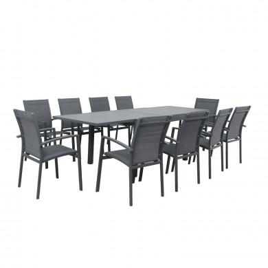 Table de jardin extensible aluminium - 135/270cm - 10 places - Gris Anthracite-ANDRA