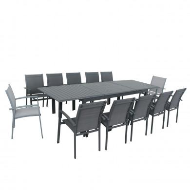 Table de jardin extensible aluminium - 220/320cm - 12 places - Gris Anthracite-ANDRA XL