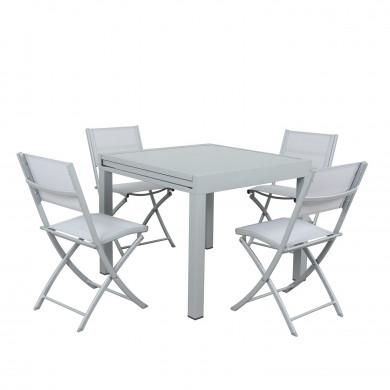 4 chaises pliables pliantes aluminium textilène - Gris Argenté- BORA