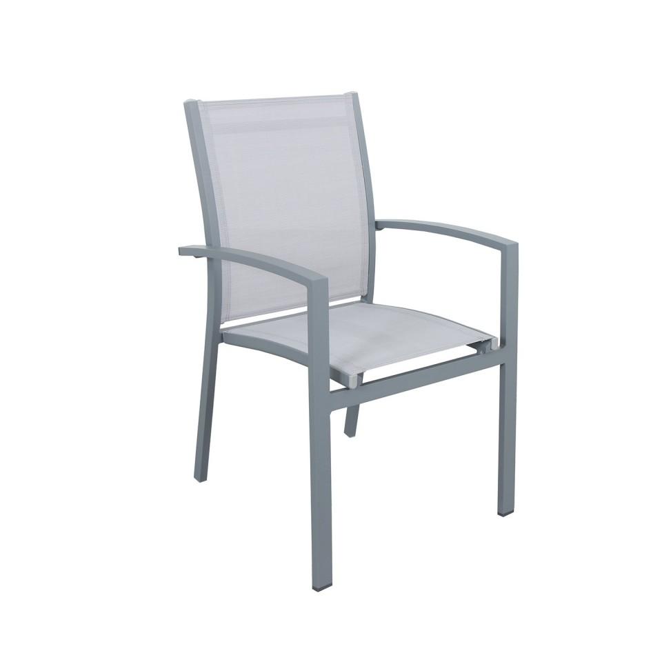 Lot de 2 Fauteuils empilables aluminium en textilène- Gris-ANDRA