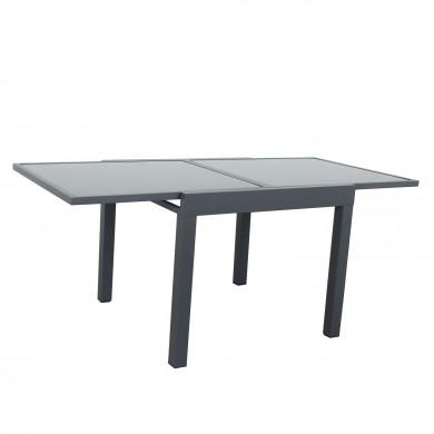Table de jardin extensible aluminium 90/180cm  + 8 Chaises pliables textilène noir - BORA