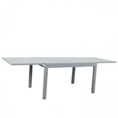 Table de jardin extensible aluminium 135/270cm  + 10 fauteuils empilables textilène gris - ANDRA