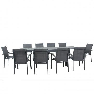 Table de jardin extensible aluminium 135/270cm  + 10 Fauteuils empilables textilène Gris Anthracite - ANDRA