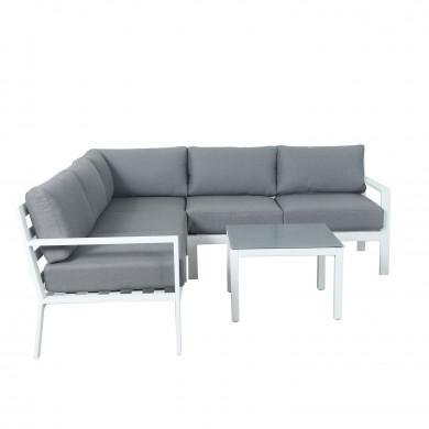 MIO - Ensemble salon de jardin design aluminium - Blanc Gris - intérieur/extérieur