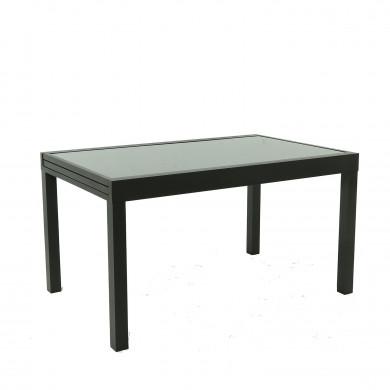 Table de jardin extensible aluminium 140/280cm  + 10 fauteuils  empilables textilène Noir - FARO