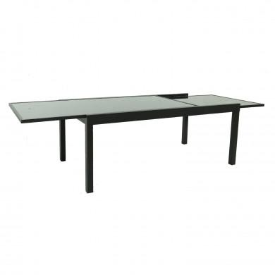Table de jardin extensible aluminium 140/280cm  + 10 fauteuils textilène Noir - MODEL HARA XL